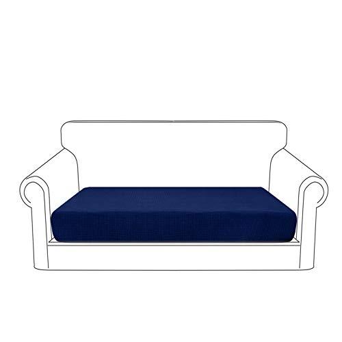 Granbest Premium Wasserdicht Sofa Sitzkissenbezug, High Stretch Jacquard Sitzkissenschutz Sofasitzbezug für Couch (2 Sitzer, Dunkelblau)