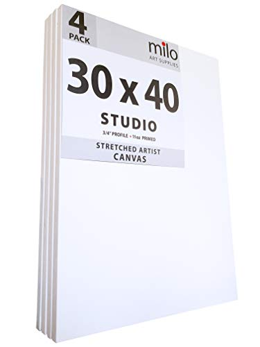 milo Pro Stretched Artist Canvas   30x40 inches   Pack of 4   3/4 inch Studio Profile
