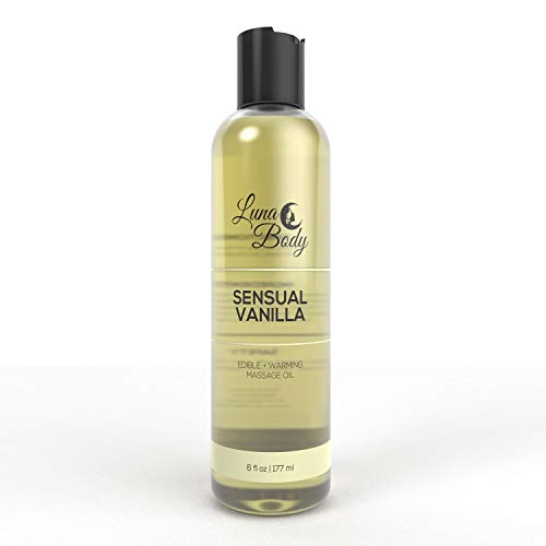 LunaBody Edible Massage Oil with Essential Oils, Made in USA, Natural Fragrance Scented, Relaxing Massages (Sensual Vanilla)