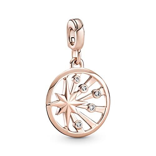 Pandora Medallón ME de acero de la vida con aleación de metal chapado en oro rosa de 14 quilates y circonita cúbica,...