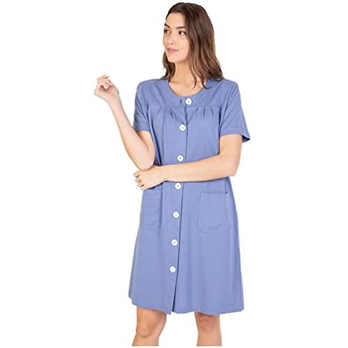 Massana Bata de Mujer Abotonada con Bolsillos L216215 - Azul, XL