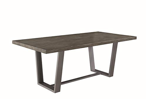 Coaster Hutchinson Dining Table, Aged Concrete/Gunmetal