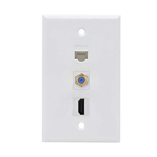 HDMI Ethernet Coax Wall Plate - HDMI Coax Ethernet Cat6 Wall Plate Female to Female - White