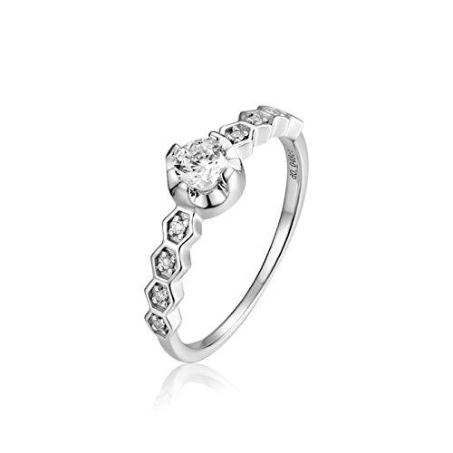 Aeici Anillos Boda Oro blanco 18k, Anillos Oro Mujer Diamante Diamante 0.2ct, Redonda, Talla 20