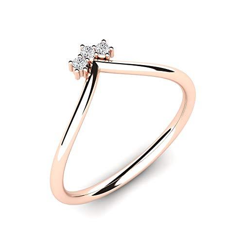 Dainty Rose Gold Ring Donita con 3 VS Diamonds 0.045 ct hecho de 9K 375 Rose Gold + Diamond Ring para mujer - Joyas hechas a mano - Anillo de diamantes como regalo para mujer - Ajuste cómodo