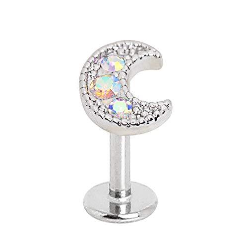 eeddoo® LABRET STAB aus Edelstahl Mond mit Kristall Aurora Borealis