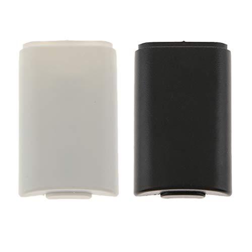 P Prettyia 2X Batterie Abdeckung Akkufach Schutz Case für Xbox 360 Slim Wireless Controller, Schwarz und Weiß