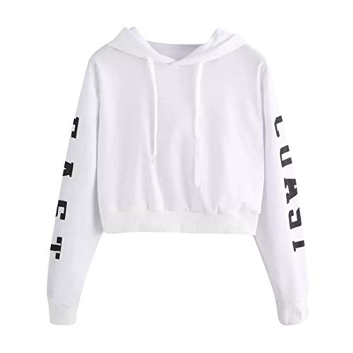 TWIFER Damen Buchstaben Langarmshirt Hoodie Crop Pullover Tops Sweater Sweatshirt