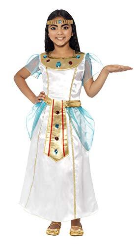 Smiffy's-44104S Traje de Chica Cleopatra de Lujo, con Vestido y Diadema, Color Blanco, One Size (44104S)