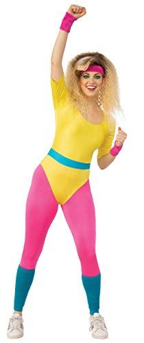 Emmas Wardrobe 1980er Kostüm | 80er Aerobic Outfit Trikot, Leggings und Beinlinge | Größe 34-44 | Helles Retro-Party-Outfit (42-44)