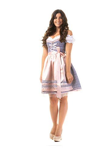 Trachtl.de Dirndl Trachtenkleid Damen Sophie IN BLAU 3.TLG 36