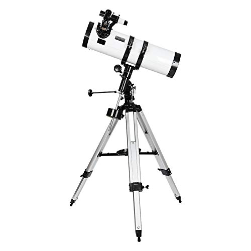 AOMEKIE Telescope, 130mm Aperture 650mm EQ Mount Newtonian Astronomical Reflector Telescope for Adults - with Phone Adapter & Tripod (White)