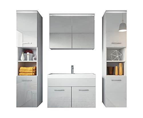 Badezimmer Badmöbel Set Paso XL LED 80 cm Waschbecken Hochglanz Weiß Fronten - Unterschrank 2x Hochschrank Waschbecken Möbel