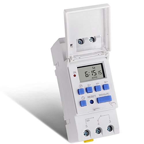 SINOTIMER 220V TM612 Temporizador de dos canales 7 d/ías 24 horas Interruptor horario electr/ónico digital LCD programable con dos salidas de rel/é//Blanco