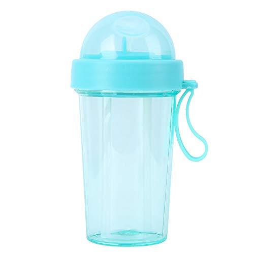 YIFengFurun Botella de agua, portátil creativa al aire libre, una taza y dos tazas de agua, para coche, viajes, deportes al aire libre, camping 420 ml (azul)