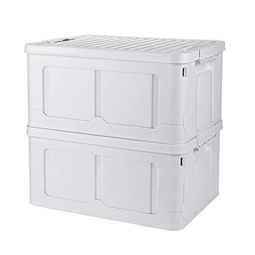 Adkwse Aufbewahrungsbox Mit Deckel, 2er-Set Faltbarer Aufbewahrungsboxen Mit Beweglichem Klickverschluss, Stapelbare Kisten Storage Box Faltboxen Stapelboxen Für Aufbewahrung Und Transport, PP , 2*40L