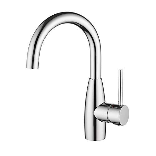 CREA Einhebelmischer Armatur Wasserhahn Küche oder Bad, Waschticharmatur Spültischarmatur 360° drehbar, Messing verchromt poliert