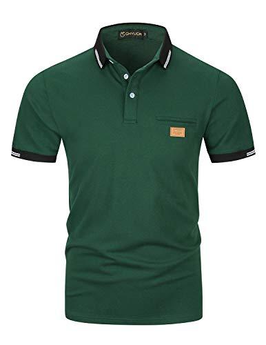 Casual Polos Manga Corta para Hombre Costura en Contraste Escote Camiseta Camisas Verano Primavera Deporte Golf Tennis T-Shirt Oficina,Verde,L