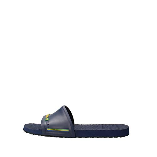 Havaianas Unisex Adults' Slide Brasil Open Toe Sandals, (Navy Blue 0555), 8.5 UK