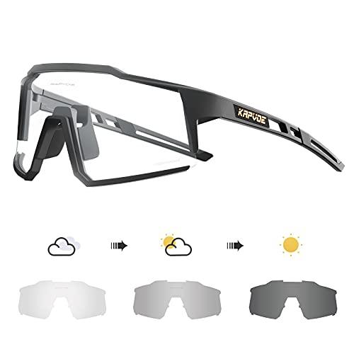 KAPVOE Photochromatische Selbsttönend Fahrradbrille TR90 Rahmen für Herren Damen Klar Sportsonnenbrille Sport Radfahren MTB Radbrille Sportbrille Fahren Baseball Laufen CE Zertifiziert 04