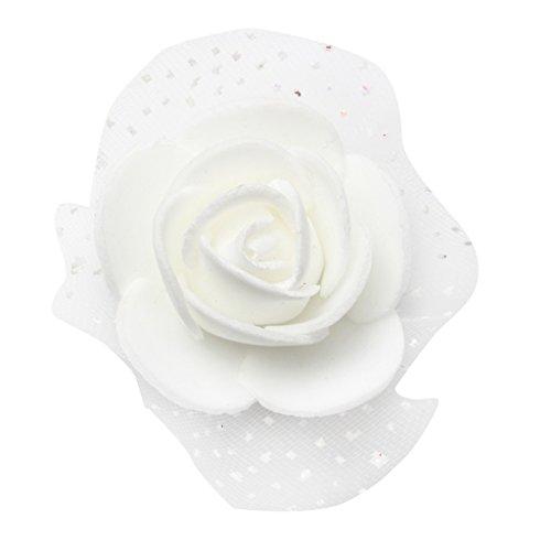 100pcs Foamrosen Schaumrosen Schaumköpfe Kunstrosen Rosenkopf - Weiß, 3.5cm