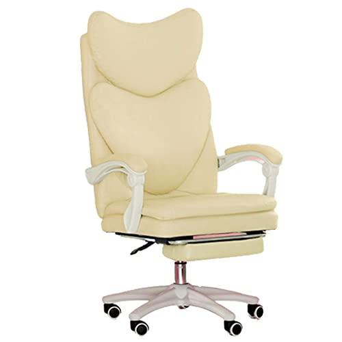 N&O Sillas de la casa de renovación Computadora Juego en casa para niñas Cómodo sillón reclinable Jefe Oficina Elevable 360 Grados Giratorio Beige 54X65X114Cm
