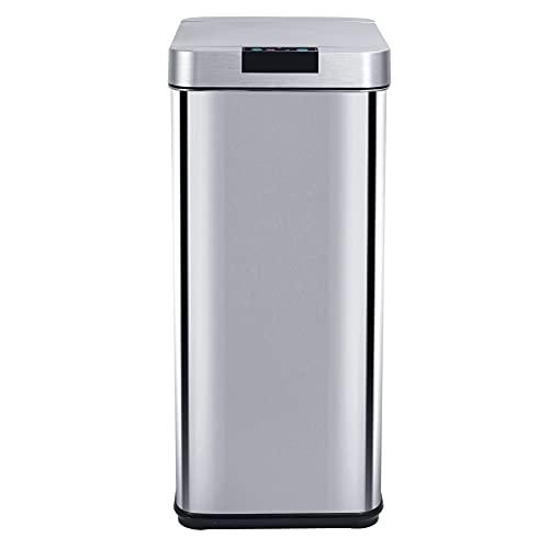 Poubelle de cuisine automatique design 50L PARKSIDE en acier INOX avec cerclage