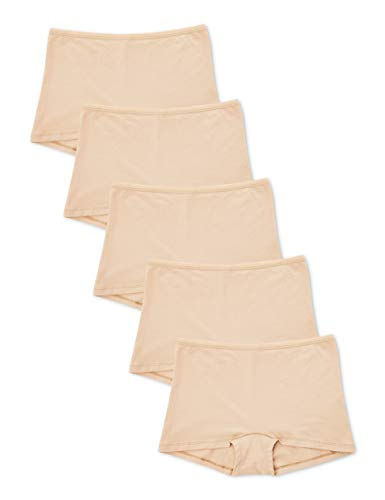 Amazon-Marke: Iris & Lilly Damen Shorts aus Baumwolle, 5er-Pack, Beige (Natur), M, Label: M