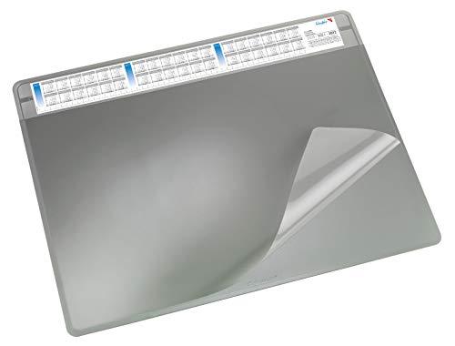 Läufer 47653 Durella Soft Schreibtischunterlage mit transparenter Auflage und Kalender, rutschfeste Schreibunterlage, verschiedene Farben, 50 x 65 cm, grau