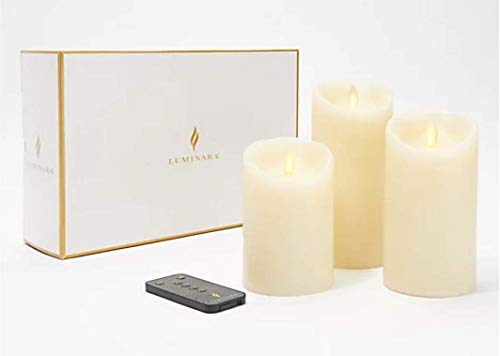 Luminara LED Living Flame Effect Set of 3 Real Wax Ivory Pillar Candles Remote Control Enabled With Free Remote