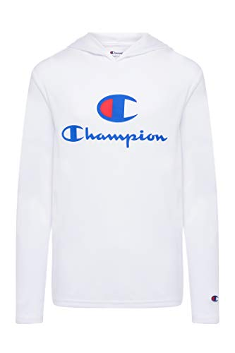 Champion Jungen Tech Langarm Top Active Hooded Tee Shirt für Kinderkleidung - Weiß - Klein
