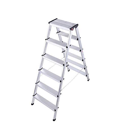 FFYN Escalera Plegable, Taburete de Aluminio Grueso Escalera de 6 peldaños, Escalera...