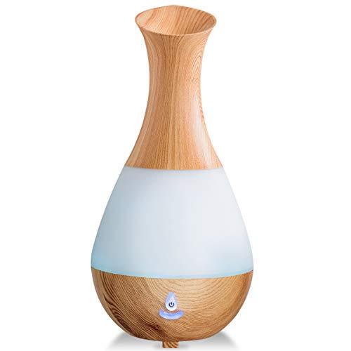 GOPLUS 235 ML Luftbefeuchter, Ultraschall Diffuser, Aroma Diffuser mit farbenwechselnde LED Licht, Luftbefeuchter Aromatherapie, Holzmaserung, Tragbarer für Schlaf- oder Kinderzimmer