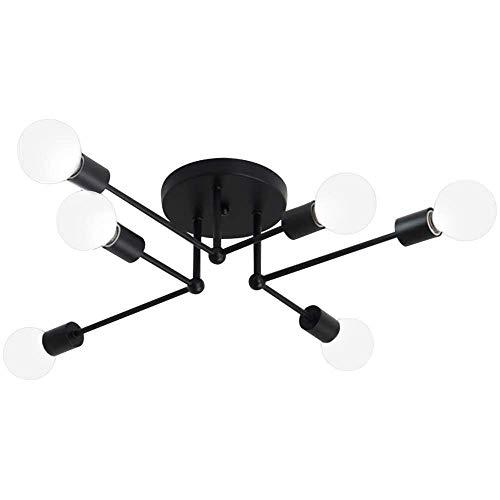 Lámpara de Techo para vestíbulo de Dormitorio - Lámpara de Techo de Montaje Semi Empotrado de diseño Sputnik de Metal con 6 enchufes de Bombilla E26 / E27 MAX 240W - Acabado Pintado en Negro
