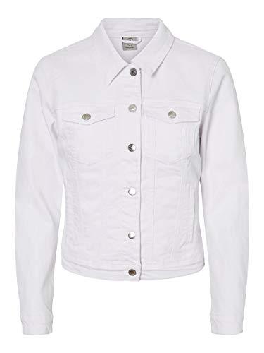 Vero Moda VMHOT SOYA LS Denim Jacket Mix GA Noos Giacca, Bianco (Bright White Bright White), 46 (Taglia Produttore: Large) Donna