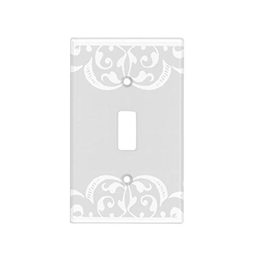 1-Gang Wall Plate Cover, Single Toggle Switch Cover Shabby Chic Classic Beadboard Unbreakable Faceplate