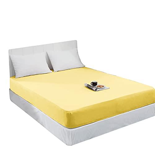 Mixibaby Spannbettlaken Jersey Spannbetttuch 100{514c5f949e269b4ac3e737ae3ae7bff2f992cf1715b3fd947a23d0d1d0d01d49} Baumwolle Bettlaken Spannbettuch Laken 28 Farben, Größe:180 x 200 cm, Farbe:Vanille Gelb