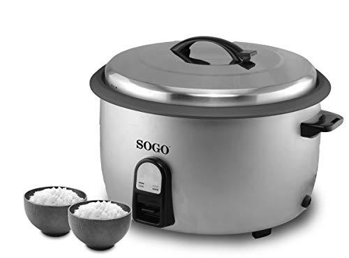 SOGO SS-10780 professionele rijstkoker met 10 liter inhoud, ideaal voor restaurants, hotels, catering. Elektrische kookpan, anti-aanbaklaag, automatische uitschakeling, 2950 W, zilverkleurig
