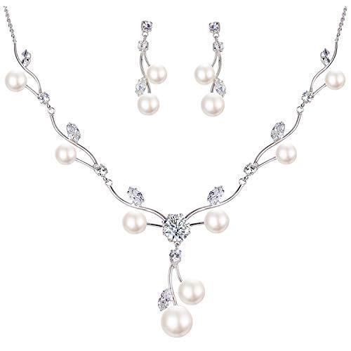 Mondora Nozze Collane Orecchini Set Donna's CZ Colore dell'avorio Perla simulata V-Formad Vine Argento-Tone Trasparente