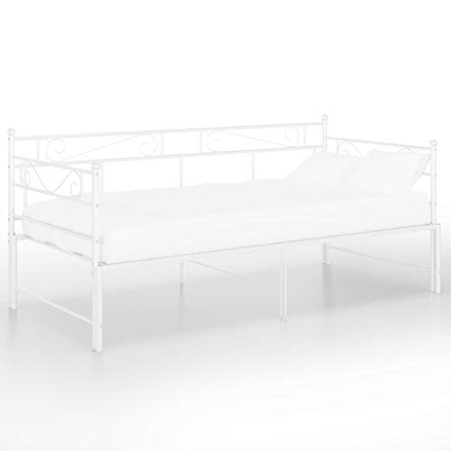 vidaXL Pull-out Sofa Bed Frame White Metal 90x200 cm