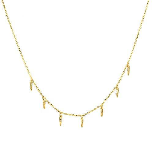 Plata 925 hojas de oro collar de cadena gargantilla moda cristal circonita rock pluma joyería-oro
