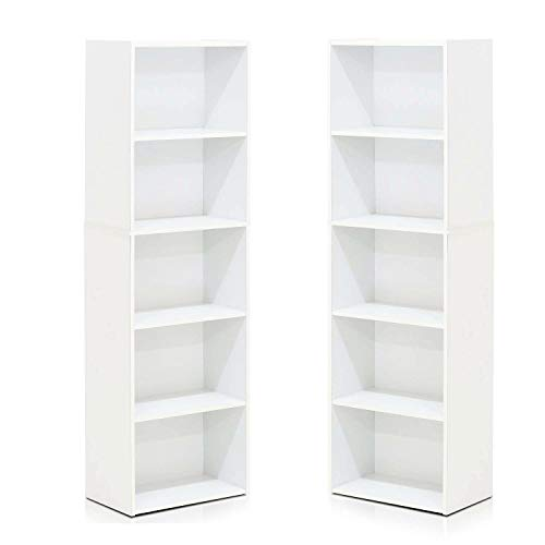 Furinno 5-Tier Reversible Color Open Shelf Bookcase , White 2 Pack