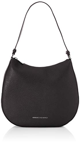 Armani Exchange Small Pebble Hobo Bag - Bolso bandolera, color Negro, talla 28x8x31.5 cm (B x H x T)