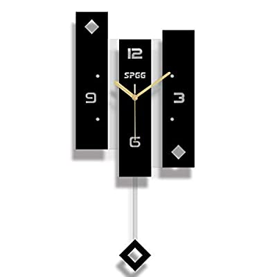"""XSZ Modern Design Large Silent Creative Wall Clock Battery Operated for Kitchen Office Living Room Bedroom Decorative (10.2"""" Wx 22"""" L)"""