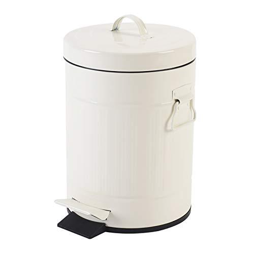 Papelera de baño con tapa, pequeña cesta blanca para el ho
