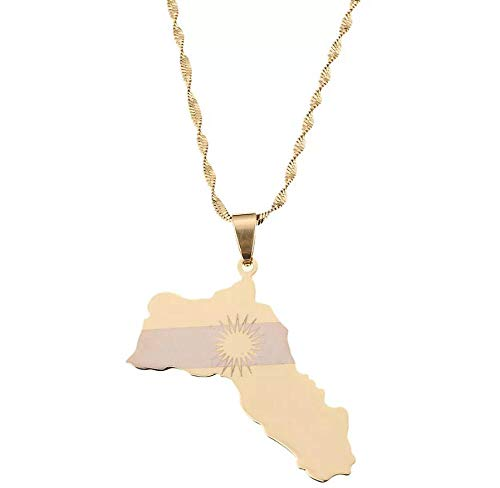Stainless Steel Gold Color Kurdistan Map Pendant Necklaces Kurdish Flag Charm Jewelry