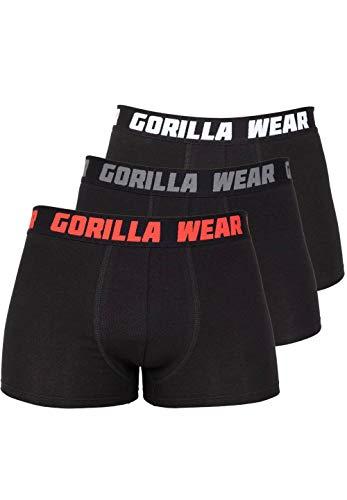 Gorilla Wear Boxershorts 3-Pack - atmungsaktive leichte Bequeme Unterhose mit Logo aus Baumwolle Spandex ansprechende Passform eng funktionell, 4XL
