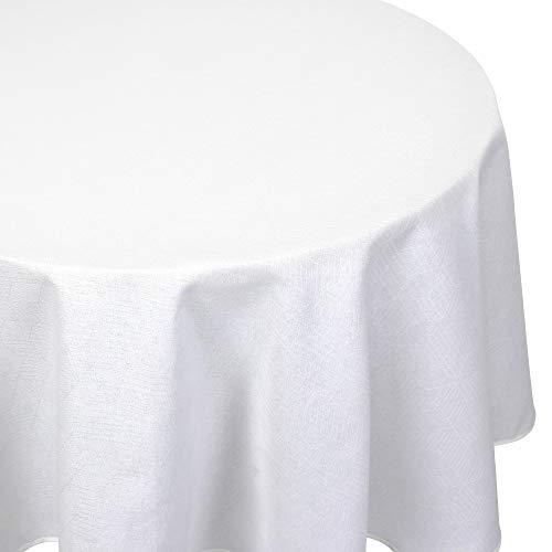 Nappe ronde 180 cm Jacquard 100% coton CUBE blanc