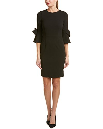 Donna Morgan Women's 3/4 Bell Sleeve Shift Dress with Bow Detail, Black, 14 (Apparel)