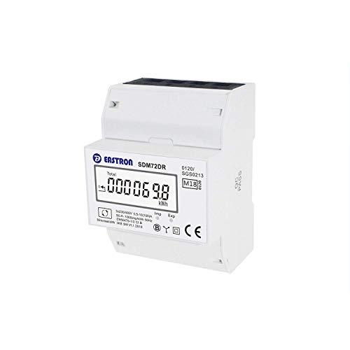 EASTRON SDM72-DR-MID - digitaler Drehstromzähler - 100A 3-phasig - Stromzähler für DIN-Schiene mit Resetmöglichkeit - geeicht